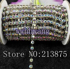 1yard SS6/12/16/20 (2mm-4.6mm) Clear ab Glass Crystal Rhinestone Silver base chain rhinestone chain for phone, cup,mouse,clothes