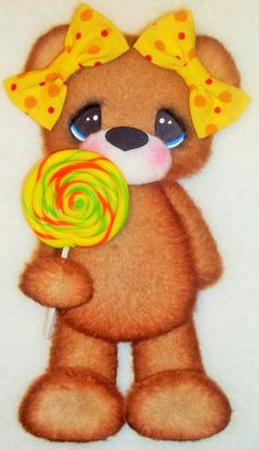 ELITE4U Tear Bear girl yellow bows  ~ paper piecing  scrapbook ~card ~album