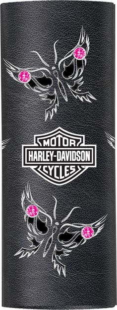 "Harley-Davidson® Womens Leather Butterflies Rhinestone 4"" Hair Glove® Ponytail Cover"