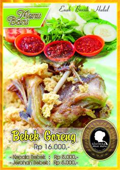 Menu Bebek Goreng tersedia di cabang Slamet Riyadi 121 Solo ( Depan SMP Bintang Laut )