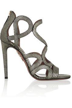 AQUAZZURA Athena metallic lizard-effect leather sandals $825