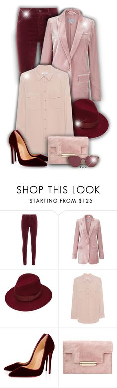 """Velvet!"" by asia-12 ❤ liked on Polyvore featuring AG Adriano Goldschmied, Justine Hats, Equipment and Christian Louboutin"