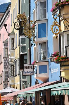 Colorful buildings in Vipiteno, South Tyrol, Italy