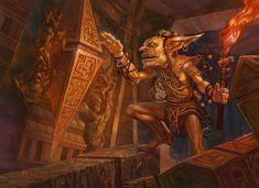 Tuktuk the Explorer MtG Art from Commander Rise of the Eldrazi Set by Volkan Baga Goblin Art, Goblin King, Fantasy Races, Fantasy Art, Mtg Art, Savage Worlds, My Fantasy World, Wizards Of The Coast, Monsters