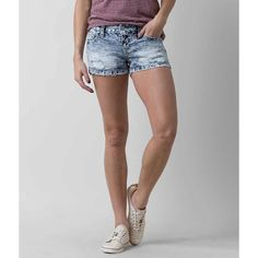 Women's Scorpio Stretch Short in Blue by Daytrip. ($47) ❤ liked on Polyvore featuring shorts, blue, torn shorts, blue short shorts, slim shorts, low rise shorts and low rise short shorts