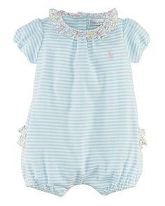 Ralph Lauren Childrenswear Infant Girls' Stripe Bubble Shortall - Sizes 3-9 Months | Bloomingdale's