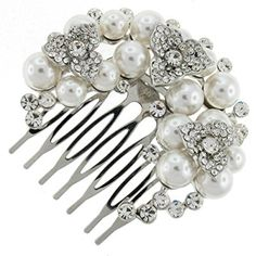 Trefoil Ivory Pearl and Rhinestone Crystal Bridal Hair Comb Clip