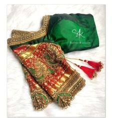 Stunning green color designer blouse with swan design hand embroidery work on sleeves. Blouse Back Neck Designs, Kids Blouse Designs, Hand Work Blouse Design, Stylish Blouse Design, Hand Designs, Blouse Neck, Lengha Blouse Designs, Wedding Saree Blouse Designs, Blouse Designs Silk