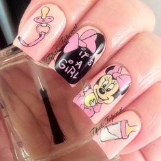 Baby shower hand painted nails! So cute!