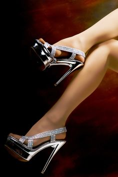 Silver sandals and pantyhose - Heels Sexy Legs And Heels, Hot High Heels, High Heels Stilettos, Stiletto Heels, Pantyhose Heels, Stockings Heels, Beautiful High Heels, Silver Sandals, Sneaker Heels