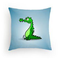 Crocodile throw pillow. #Redbubble #Cardvibes #Tekenaartje
