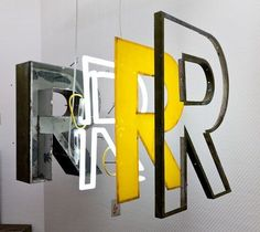 Educational display on construction of neon signs, from the Letters Museum (Buchstabenmuseums) in Berlin.