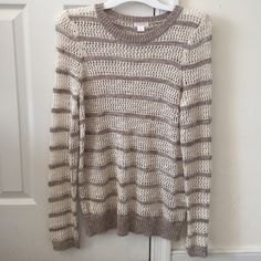 See Through Long Sleeve Sweater Targets Xhilaration cream and tan see through sweater. Never been worn. Xhilaration Sweaters Crew & Scoop Necks