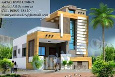 elevations of independent houses House Outer Design, Single Floor House Design, House Front Design, Modern House Design, Indian House Exterior Design, Exterior House Colors, Village House Design, Bungalow House Design, Building Elevation