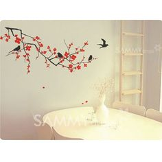 $5.96 Small Size PVC Lovely TV Background Wall Sticker Home Decor with Tree and Birds Pattern