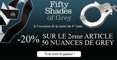 -20% sur le 2ème article de la gamme Fifty Shades of Grey pour rejouer les scènes les plus excitantes du livre 50 Nuances avec votre chéri(e) c'est sur passagedudesir.fr et c'est maintenant http://www.passagedudesir.fr/50-Nuances-de-Grey/p/3/1495/0/