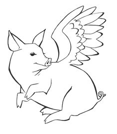 flying pig tattoo by on DeviantArt Rooster Tattoo, Sheep Tattoo, Pug Tattoo, Tattoo Quotes, Mops Tattoo, Pig Sketch, Tree Frog Tattoos, Pig Crafts, Pig Drawing