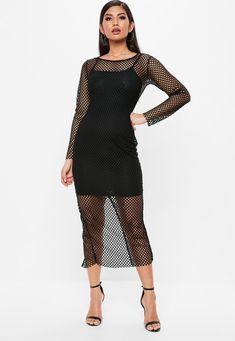 Missguided - Black Fishnet Split Maxi Dress