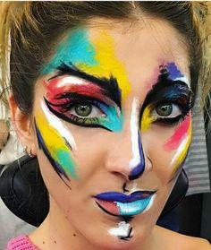 Show Makeup, Makeup Art, Beauty Makeup, Abstract Face Art, Extreme Makeup, Alternative Makeup, Rainbow Aesthetic, Theatre Makeup, Special Effects Makeup