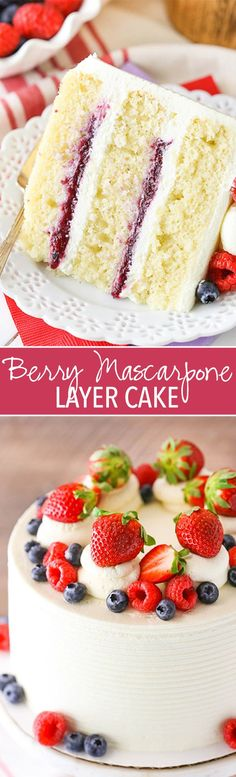 Berry Mascarpone Layer Cake - layers of moist vanilla cake fresh berry filling and whipped mascarpone frosting! Berry Mascarpone Layer Cake - layers of moist vanilla cake fresh berry filling and whipped mascarpone frosting! No Bake Desserts, Just Desserts, Delicious Desserts, Dessert Recipes, Baking Desserts, Mini Desserts, Frosting Recipes, Light Summer Desserts, Desserts Caramel