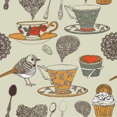 Cupcake, tea and bird seamless background. Vector. vector art illustration