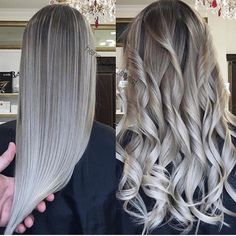 Platinum Silver Perfection! Gorgeous color and styles by @henry_hair_stylist. Which is your fave...Curly or Straight? #hotonbeautyvivids . . . #silverhair #platinumblonde #platinumsilverhair #longsilverhair #longstraighthair #longcurls