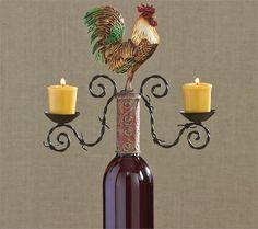 Rooster Votive Candle Holder Wine Bottle Topper