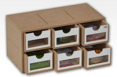 The Module has six drawers with windows made of acrylic glass. It is designed to connect with other products of the Hobbyzone Modular Workshop System. D imensions approx : 30cm x 15cm x 15 cm