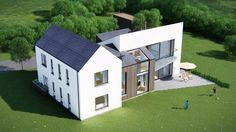 55 Trendy home design front facades House Designs Ireland, Cool House Designs, Home Bar Rooms, Farmhouse Renovation, Architect House, Prefab Homes, House Plans, New Homes, House Styles