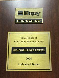 Kitsap Garage Door Authorized dealer award for outstanding sales and service. #Kitsapgaragedoor #garagedoors & Kitsap Garage Door\u0027s Clopay Master Authorized Dealer Award for 2014 ...