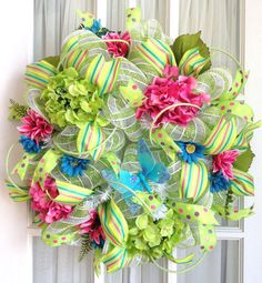 Deco Mesh Door Wreath Lime Hot Pink by SouthernCharmWreaths