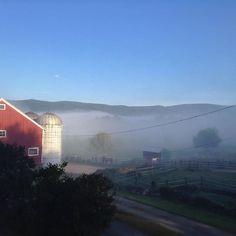 Valley fog this morning. #familyfarm #vermont #soVT #vt #redbarn #barn #fog