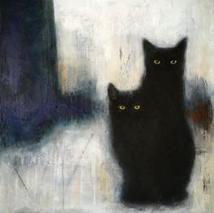 """Saatchi Art is pleased to offer the painting, """"SUSPENSE,"""" by Eva Fialka. Original Painting: Acrylic, Gesso, Charcoal on Canvas. Black Cat Painting, Acrylic Painting Canvas, Canvas Art, Textured Painting, Figurative Kunst, Anatomy Art, Cat Drawing, Animal Paintings, Pet Portraits"""