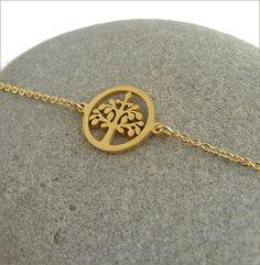 Gold tree charm woman bracelet bracelet délicat chaine et Bracelets, Pendant Necklace, Gold, Etsy, Jewelry, Women, Stone Bracelet, Stones, Unique Jewelry