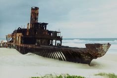 Photograph shipwrecks ....  #airnzsunshine Qld. Teewah Beach  Noosa - Shipwreck -  Skeleton of the Cherry Venture by gayheb, via Flickr