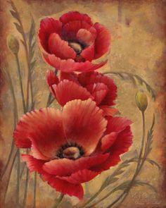 Poppy Passion I Schilderij van Elaine Vollherbst-Lane bij AllPosters.nl
