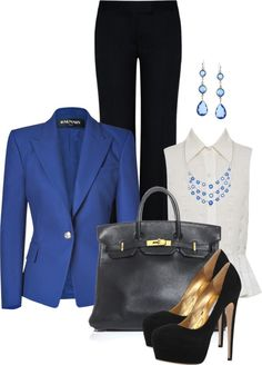 """""""Office Outfit"""" by spherus ❤ liked on Polyvore....i want blue heels with it to match the blazer!"""
