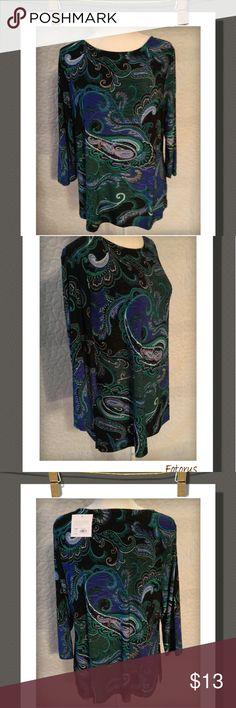 Top Nice paisley print top with really fun colors. Has a nice feel to it.   NWT 92% Polyester 8% Spandex Croft&Borrow Tops