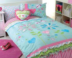Girls Flower Garden Appliqued Blue Pink Single Quilt DOONA Cover Set hannah's first choice- Hmmmmm
