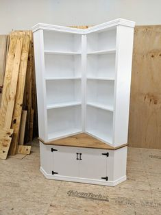 This Shabby Chic Corner Bookcase With Seat is just one of the custom, handmade pieces you'll find in our bookshelves shops. Furniture Makeover, Diy Furniture, Bookcase Makeover, Bookcase Plans, Furniture Websites, Inexpensive Furniture, Furniture Design, Corner Bookshelves, Bookcases