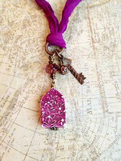 Home Sweet Home necklace with Humblebeads, Vintaj and Sari silk ribbon
