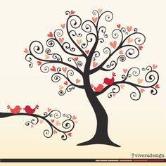 Love Birds on a Love Tree  in Coral Pink  digital by viveradesign, $5.00