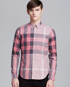 (A - item B1) Burberry Brit Fred Exploded Check Sport Shirt Classic Fit in Red for Men (Rose Pink)