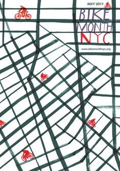 Poster promoting Bike Month in NYC 2011, by Charlotte Trounce