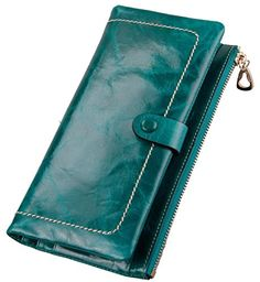 AmyTom Luxury Womens Real Leather Wallet Long Zipper Clutch Purse Card Holder Green *** You can get additional details at the image link.