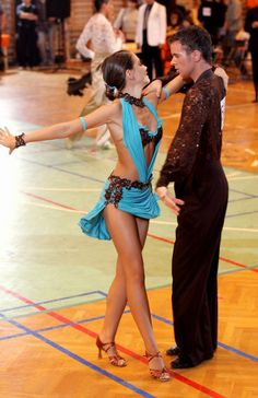 M319 Turquoise Brown Latin Dance Costume - Dreamgown