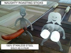 Naughty But Funny Fire Place Roasting Sticks Skewer-large Gonads Model  So funny!