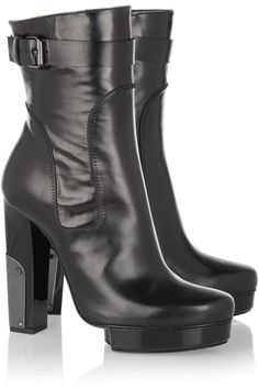 Lanvin | Metal-paneled leather calf boots | NET-A-PORTER.COM
