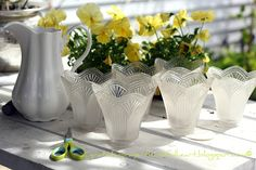 Recycle glass light covers, Fun Ideas For The Garden