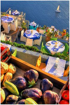 Restaurant in Santorini, Greece. Picture yourself here with a SANTORINI FOOD TOUR from Viator. Get information at: http://www.allaboutcuisines.com/food-tours/greece/in/greece #Food Tours Greece #Travel Greece #Greek Food